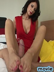hot brunette long legs making footjob